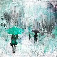 Sketch of a person with a teal umbrella against city elements on a light teal and blue watercolor background