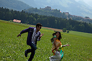 Famous Doctor-actor Rajasekar and young movie star Kamalini on a movie set in Gruyères, Switzerland.