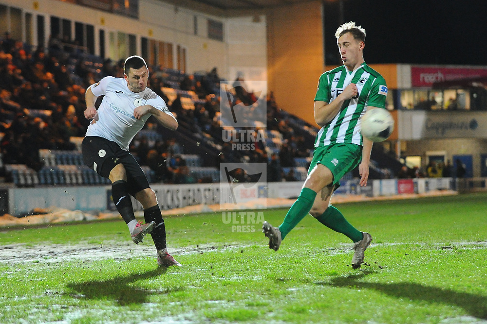 TELFORD COPYRIGHT MIKE SHERIDAN Aaron Williams of Telford during the Vanarama Conference North fixture between AFC Telford United and Blyth Spartans at The New Bucks Head on Tuesday, January 28, 2020.<br /> <br /> Picture credit: Mike Sheridan/Ultrapress<br /> <br /> MS201920-043