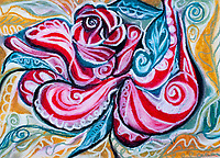 abstract image in red, yellow, white, black and green colors with central mystic rose like figure in tones of red, with bended lines, curls and leaf shapes, with shades