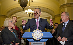 June 27, 2017 - Washington, District of Columbia, United States of America - United States Senate Minority Leader Chuck Schumer (Democrat of New York) speaks to reporters following the Democratic Party luncheon in the United States Capitol in Washington, DC on Tuesday, June 27, 2017.  From left to right: US Senator Patty Murray (Democrat of Washington), US Senator Debbie Stabenow (Democrat of Michigan), Leader Schumer and US Senate Minority Whip Dick Durbin (Democrat of Illinois)..Credit: Ron Sachs / CNP (Credit Image: © Ron Sachs/CNP via ZUMA Wire)