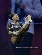 Jan 6, 2017; Norman, OK, USA; Alabama Crimson Tide's Aja Sims performs her floor routine during a NCAA Women's Gymnastics meet against Oklahoma Sooners at University of Oklahoma. Mandatory Credit: Alonzo Adams-USA TODAY Sports