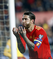 March 23, 2019 - Valencia, Community of Valencia, Spain - Spain's Sergio Ramos seen celebrating during the Qualifiers - Group B to Euro 2020 football match between Spain and Norway in Valencia, Spain. Spain beat Norway, 2-1 (Credit Image: © Manu Reino/SOPA Images via ZUMA Wire)