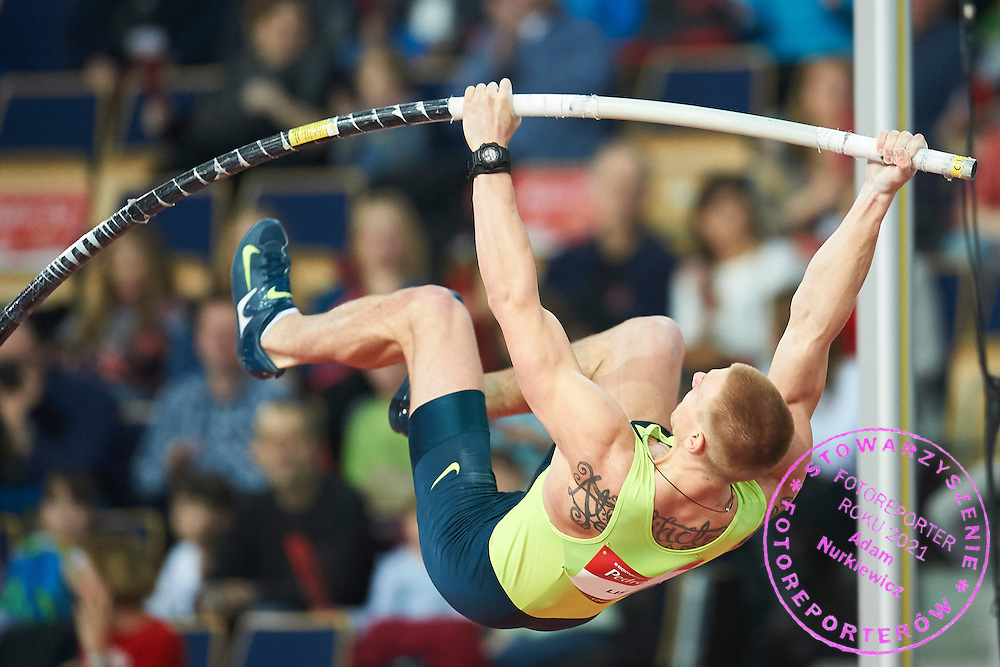 Piotr Lisek from Poland competes in men's pole vault competition during athletics meeting Pedro's Cup at Atlas Arena in Lodz, Poland.<br /> <br /> Poland, Lodz, February 17, 2015<br /> <br /> Picture also available in RAW (NEF) or TIFF format on special request.<br /> <br /> For editorial use only. Any commercial or promotional use requires permission.<br /> <br /> Adam Nurkiewicz declares that he has no rights to the image of people at the photographs of his authorship.<br /> <br /> Mandatory credit:<br /> Photo by &copy; Adam Nurkiewicz / Mediasport