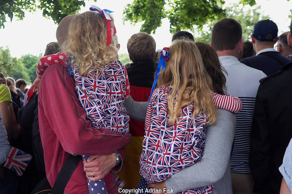 Team GB fans watch the mens triathlon in Hyde park, Central London