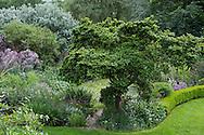 An aerial view of Derry Watkin's Special Plants Garden in Cold Ashton, Chippenham, Somerset, UK