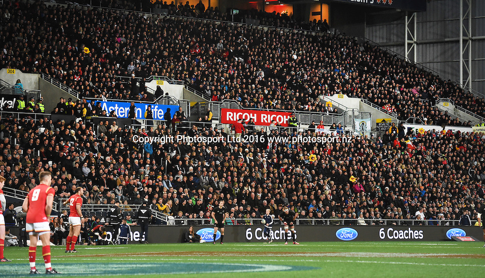 General view of fans and LED sponsorship signage. New Zealand All Blacks v Wales. Rugby Union. 3rd test match of the Steinlager series. Forsyth Barr Stadium, Dunedin, New Zealand. Saturday 25 June 2016. © Copyright Photo: Andrew Cornaga / www.Photosport.nz