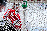 KELOWNA, CANADA - APRIL 14: Cole Kehler #31 of the Portland Winterhawks defends the net against the Kelowna Rockets on April 14, 2017 at Prospera Place in Kelowna, British Columbia, Canada.  (Photo by Marissa Baecker/Shoot the Breeze)  *** Local Caption ***