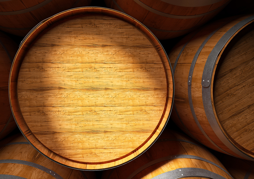 3D remderig of a close up of barrels of wine and Pisco in cellar