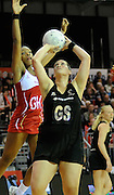 Cathrine Latu shoots for the Silver Ferns, during New World Netball Series, New Zealand Silver Ferns v England at The ILT Velodrome, Invercargill, New Zealand. Thursday 6 October 2011 . Photo: Richard Hood photosport.co.nz