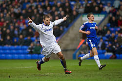 PETERBOROUGH, ENGLAND - Saturday, February 19, 2011: Tranmere Rovers' John Welsh gives his team a 1-0 lead against Peterborough United during the Football League One match at London Road. (Photo by Gareth Davies/Propaganda)