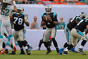 Carolina Panthers quarterback Cam Newton (1) looks upfield to pass during the Panthers game against the Miami Dolphins at SunLife Stadium on Nov. 24, 2013 in Miami Gardens, Florida. <br /> <br /> &copy;2013 Scott A. Miller