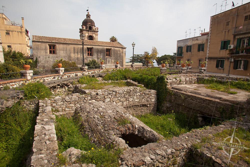 Roman Baths in Taormina, Italy on the Island of Sicily.