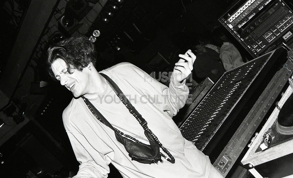 Member of 808 State keeping the party going, Piccadilly club, Manchester, 1989.