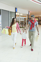 Young girl holding parents hands in shopping mall