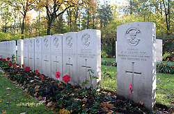The grave of Captain Charles Carus Maud of the 1st Battalion Somerset Light Infantry in Ploegsteert Wood Military Cemetery in Belgium.