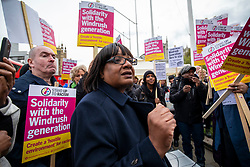 © Licensed to London News Pictures. 30/04/2018. London, UK. Shadow Home Secretary DIANE ABBOTT (centre) attends a protest in Parliament Square about the ongoing Windrush migrant scandal. Photo credit: Rob Pinney/LNP
