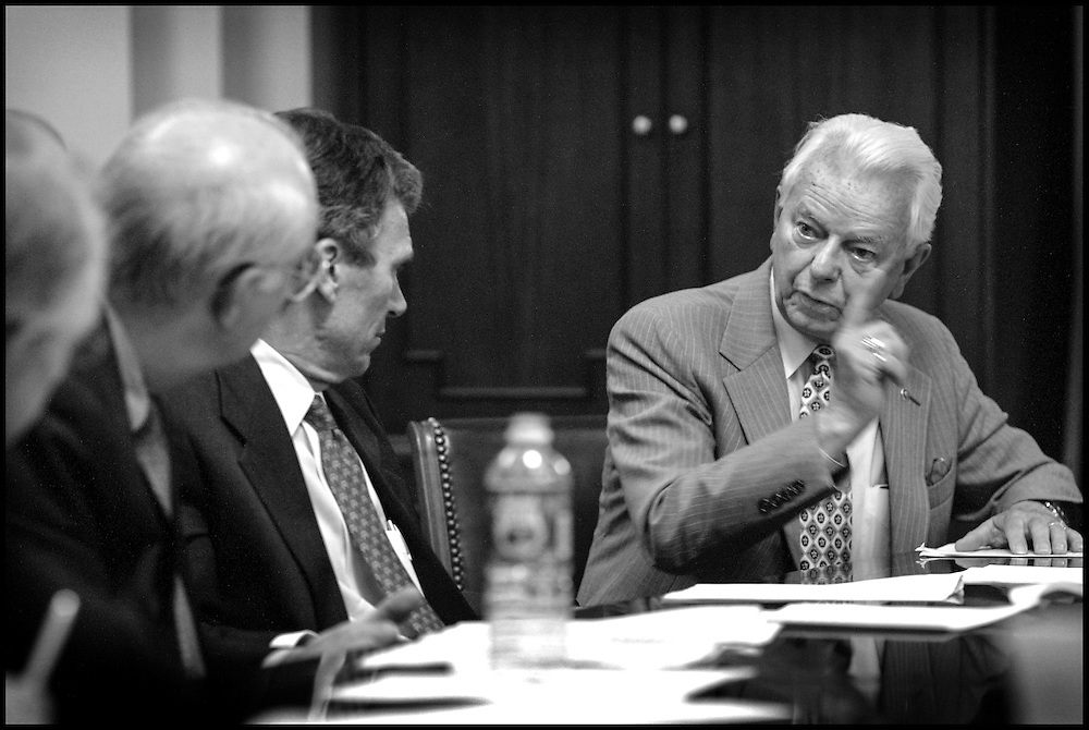 Sen. Robert Byrd makes a point during a late-night bi-partisan meeting concerning the terms of the terrorist appropriations bill for Bush. 9/13/01..©PF BENTLEY/PFPIX.com