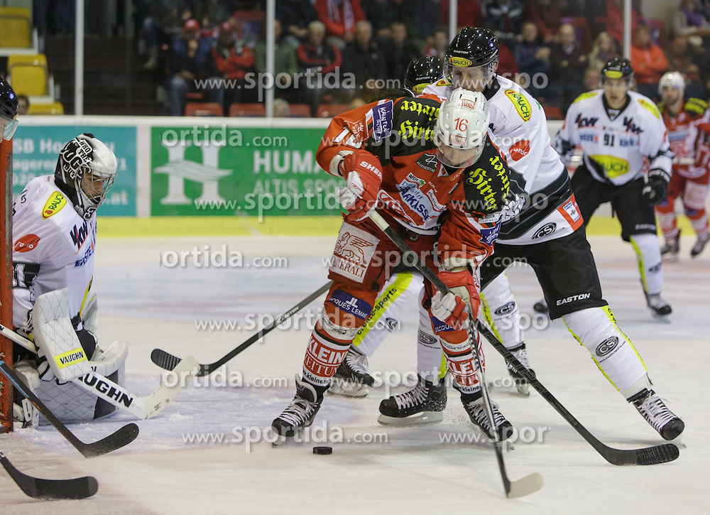 02.10.2014, Stadthalle, Klagenfurt, AUT, EBEL, EC KAC vs Dornbirner Eishockey Club, 7. Runde, im Bild David Madlaner (Dornbirner Eishockey Club, #31), Patrick Harand (EC KAC, #16), Andy Sertich (Dornbirner Eishockey Club, #10) // during the Erste Bank Icehockey League 7th round match betweeen EC KAC and Dornbirner Eishockey Club at the City Hall in Klagenfurt, Austria on 2014/10/02. EXPA Pictures © 2014, PhotoCredit: EXPA/ Gert Steinthaler
