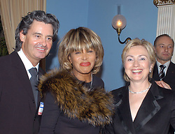 U.S. singer Tina Turner (C) and her companion, German producer Erwin Bach, pose with U.S. Senator Hillary Rodham Clinton who was awarded the 2004 German Media Prize 'Deutscher Medienpreis' in Baden-Baden, Germany, on February 13, 2005. Photo by Media Control-Balkis Press/ABACA.