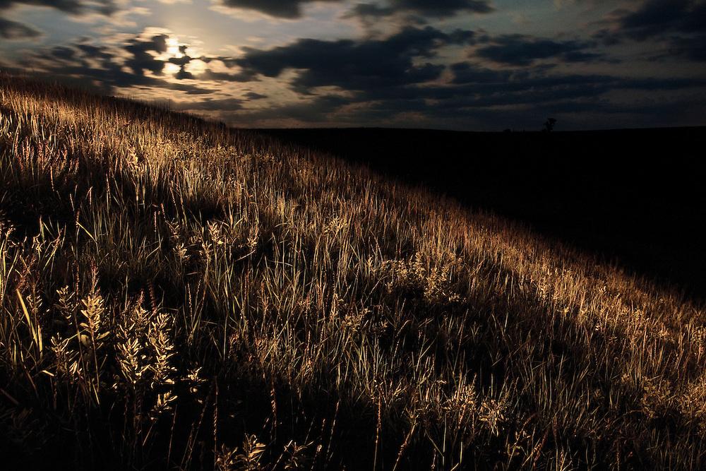 Moonrise over the Konza Prairie Natural Research Area near Manhattan, Kansas.