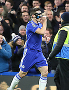 Chelsea defender Cesar Azpilcueta celebrating scoring first goal during the Barclays Premier League match between Chelsea and West Bromwich Albion at Stamford Bridge, London, England on 13 January 2016. Photo by Matthew Redman.