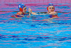 Maartje Keuning #9 of Netherlands, Maud Megens #2 of Netherlands during the semi final Netherlands vs Russia on LEN European Aquatics Waterpolo January 23, 2020 in Duna Arena in Budapest, Hungary