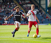 Kilmarnock&rsquo;s Jonathan Burn and Dundee&rsquo;s Yordi Teijsse - Dundee v Kilmarnock in the Ladbrokes Scottish Premiership at Dens Park, Dundee. Photo: David Young<br /> <br />  - &copy; David Young - www.davidyoungphoto.co.uk - email: davidyoungphoto@gmail.com