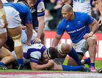 Rugby Union - 2017 Autumn Internationals - Scotland vs. Samoa<br /> <br /> Stuart McInally of Scotland scores a try at Murrayfield.<br /> <br /> COLORSPORT