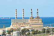 Israel, Haifa bay, View of the chimneys of the power station. Haifa's industrial area is one of the largest sources of air pollution in the area,