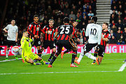 Everton forward Romelu Lukaku shoots the ball past AFC Bournemouth goalkeeper Adam Federici to score the second Everton goal during the The FA Cup match between Bournemouth and Everton at the Goldsands Stadium, Bournemouth, England on 20 February 2016. Photo by Graham Hunt.