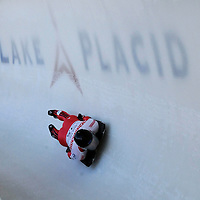 28 February 2007:  Keith Loach of Canada in turn 18 the 3rd run at the Men's Skeleton World Championships competition on February 28 at the Olympic Sports Complex in Lake Placid, NY.