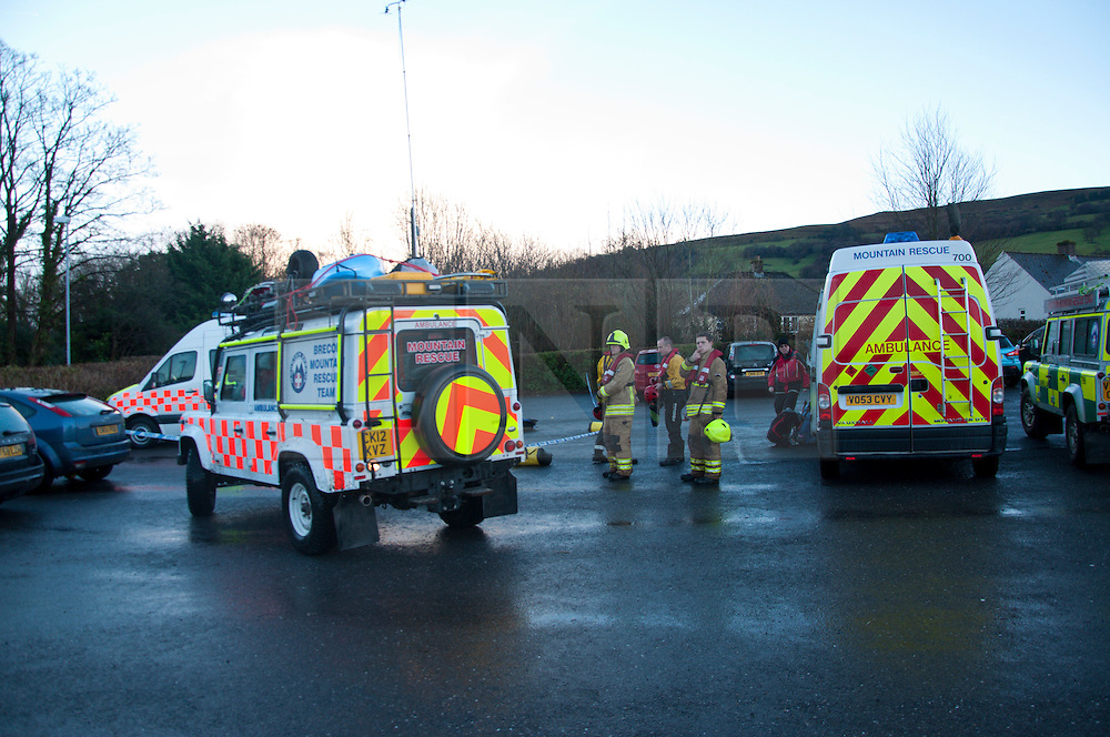 © Licensed to London News Pictures. 09/02/2014. Llangynidr,Wales, UK. Operation centre at the village hall Llangynidr.A canoeist went missing today around midday on the River Usk. Photo credit : Graham M. Lawrence/LNP