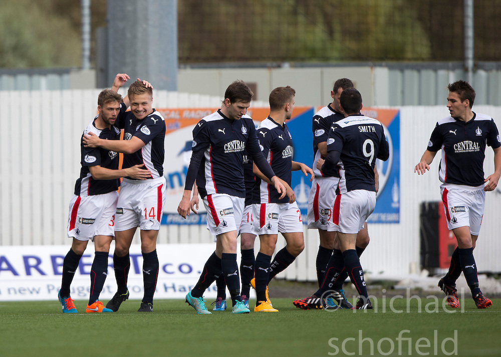 Falkirk's Rory Loy celebrates after scoring their first goal.<br /> Half time : Falkirk 4 v 0 Cowdenbeath, Scottish Championship game played at The Falkirk Stadium, 25/10/2014.