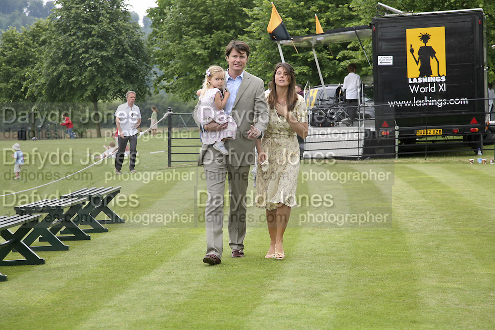 MARK AND KATIE CECIL WITH THEIR DAUGHTER LOTTIE, Guy Leymarie and Tara Getty host The De Beers Cricket Match. The Lashings Team versus the Old English team. Wormsley. ONE TIME USE ONLY - DO NOT ARCHIVE  © Copyright Photograph by Dafydd Jones 66 Stockwell Park Rd. London SW9 0DA Tel 020 7733 0108 www.dafjones.com
