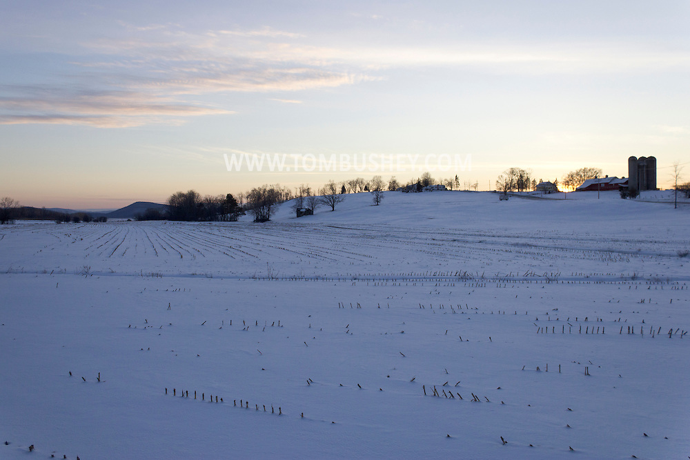 Goshen, New York - Snow-covered fields on a farm on Feb. 10, 2013.
