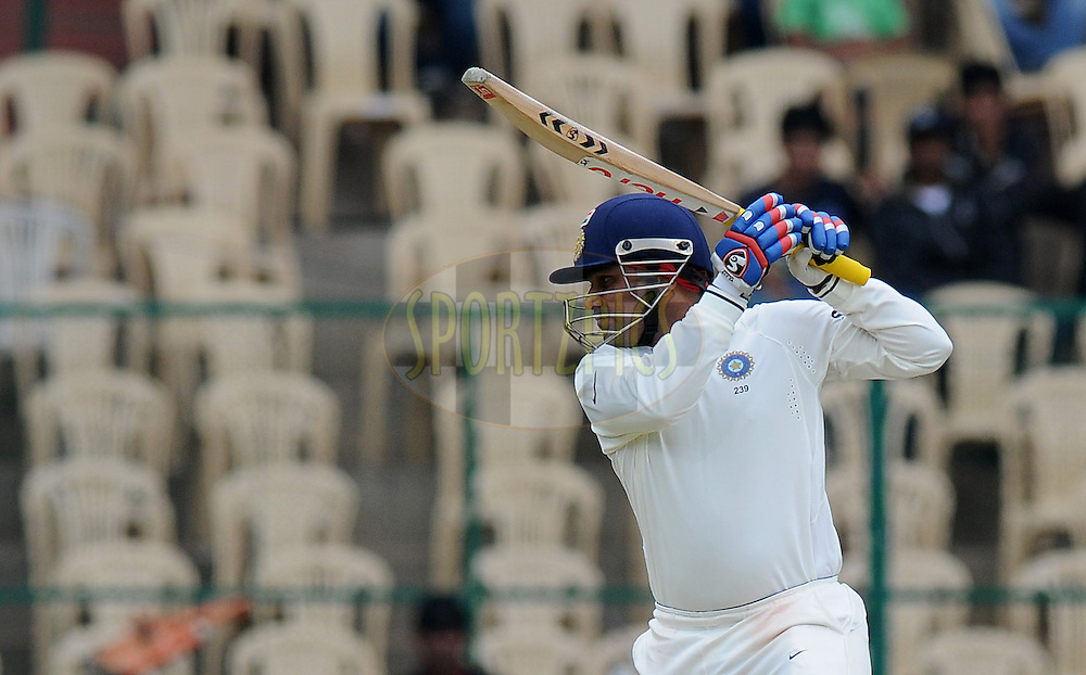 Virender Sehwag of India bats during day two of the second test match between India and New Zealand held at the M. Chinnaswamy Stadium, Bengaluru on the 1st September 2012..Photo by Pal Pillai/BCCI/SPORTZPICS