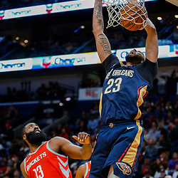 Jan 26, 2018; New Orleans, LA, USA; New Orleans Pelicans forward Anthony Davis (23) dunks over Houston Rockets guard James Harden (13) during the second half at the Smoothie King Center. Pelicans defeated the Rockets 115-113. Mandatory Credit: Derick E. Hingle-USA TODAY Sports