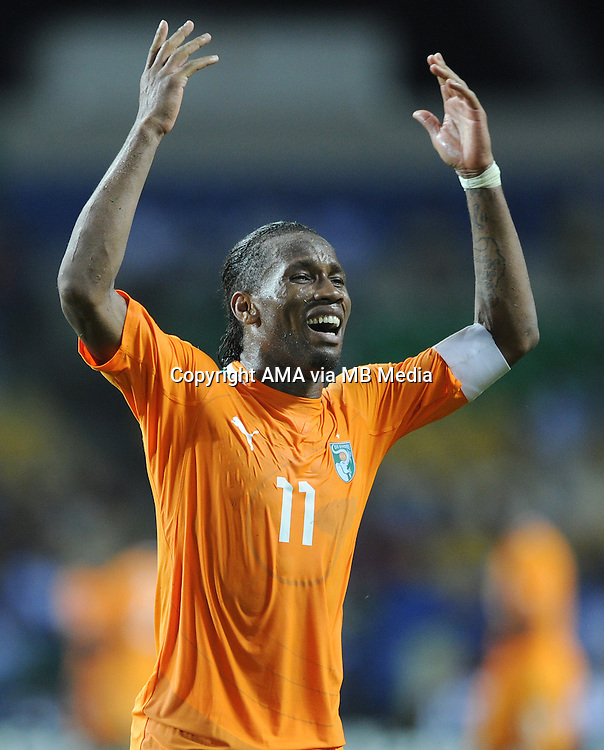 Didier Drogba of Ivory Coast urges the fans to get behind the team during the 2012 African Cup of Nations Semi-Final match between Mali and Ivory Coast at the Stade de l'Amitie in Libreville, Gabon. Photo: VISIONHAUS/AMA