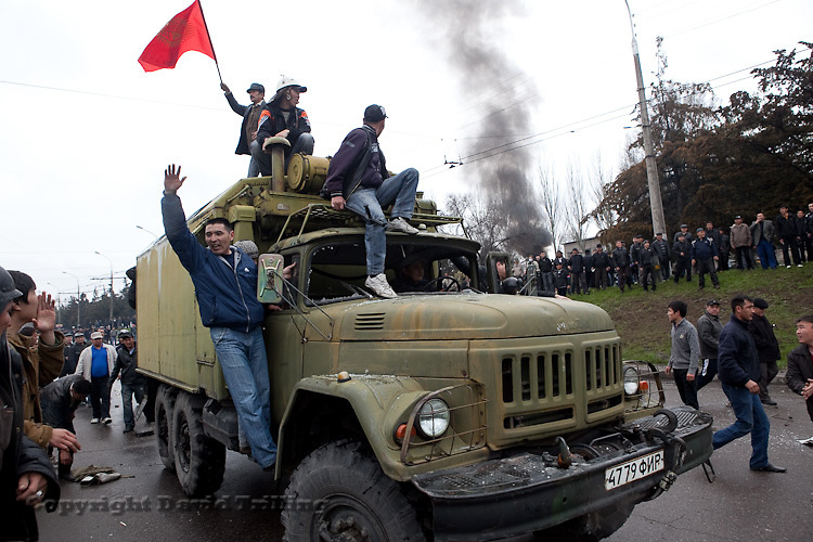 Rioters looted weapons including Kalashnikovs and RPGs from special forces' armored personal carriers during protests calling for President Kurmanbek Bakiyev to step down on Apirl 7, 2010. At least 90 were killed before Bakiyev fled that night.