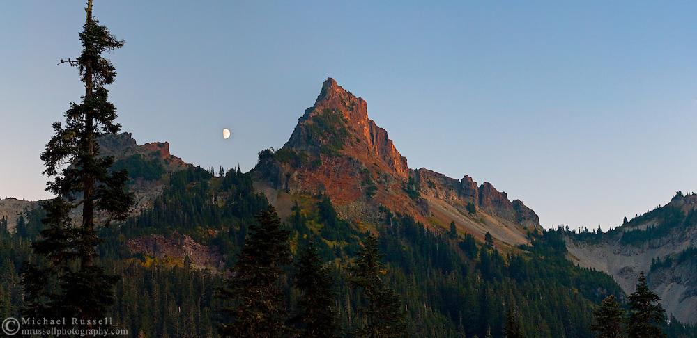 Pinnacle Peak - in the Tatoosh Range of Mount Rainier National Park - bathed in the last minutes of alpenglow..