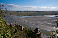 Looking out over the wetlands and tidal estuary from Mt St. Michel.