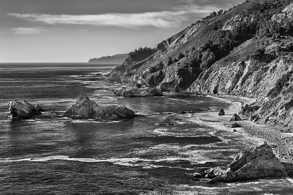 Big Sur Coastline - Pfeiffer State Beach - HDR - Black & White