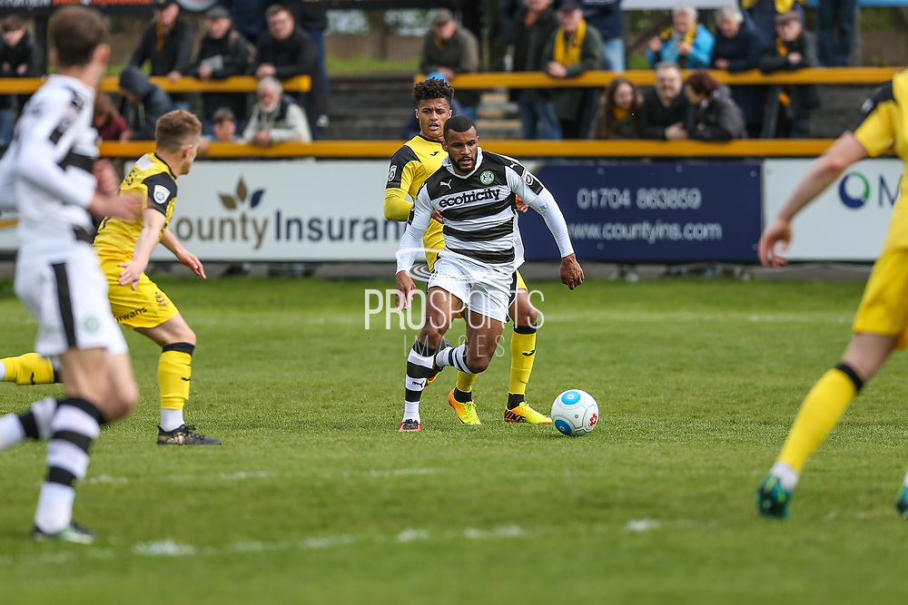 Forest Green Rovers Dan Wishart(17) on the ball during the Vanarama National League match between Southport and Forest Green Rovers at the Merseyrail Community Stadium, Southport, United Kingdom on 17 April 2017. Photo by Shane Healey.
