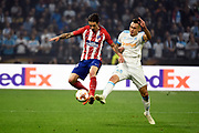 Defender Sime Vrsaljko of Atletico de Madrid and Midfielder Lucas Ocampos of Olympique de Marseille during the UEFA Europa League, Final football match between Olympique de Marseille and Atletico de Madrid on May 16, 2018 at Groupama Stadium in Decines-Charpieu near Lyon, France - Photo Jean-Marie Hervio / ProSportsImages / DPPI