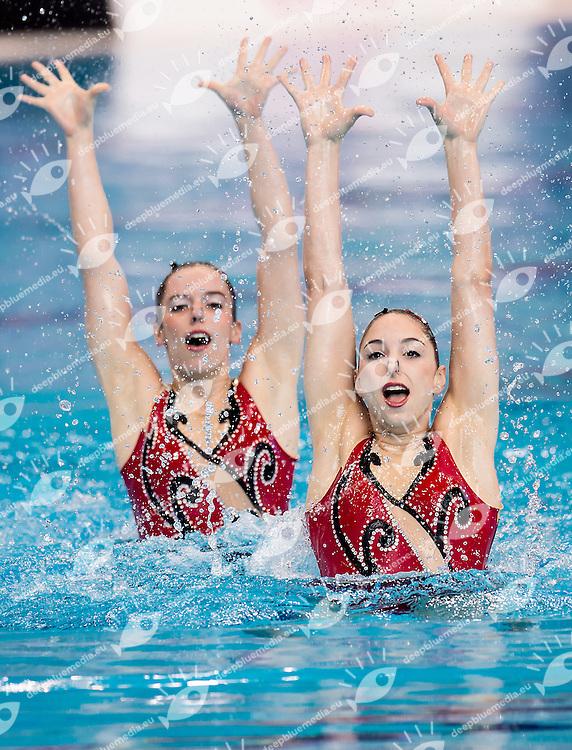 SESTAN Mia  CRO DOMIKA Rebecca  CRO<br /> London, Queen Elizabeth II Olympic Park Pool <br /> LEN 2016 European Aquatics Elite Championships <br /> Synchronised Swimming Synchro Duet Tech<br /> Day 06 13-05-2016<br /> Photo Giorgio Scala/Deepbluemedia/Insidefoto