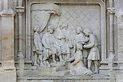 Relief representing Jacques Coeur's departure into exile, on the base of the marble statue of Jacques Coeur, 1395-1456, by Auguste Preault, 1809-79, 1874, inaugurated 1879, outside the Palais Jacques Coeur, on the Place Jacques Coeur, Bourges, France. Jacques Coeur was a wealthy merchant and was made master of the mint to King Charles VII in 1438. He had his huge manor house built 1443-51 in Flamboyant Gothic style although he never lived there. The building is listed as a historic monument. Picture by Manuel Cohen