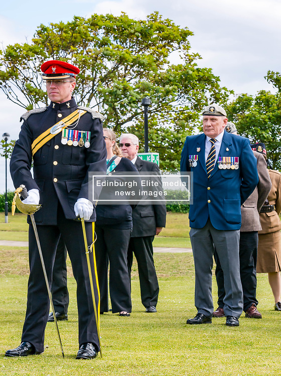 Pictured: Yeomanry receive Freedom of East Lothian, Dunbar, East Lothian, Scotland, United Kingdom, 06 July 2019. The historic Lothians and Border regiment is granted Freedom of East Lothian by Councillor Jim Goodfellow, East Lothian Council's Armed Forces Champion, which is accepted by Major S J Vine. The Yeomanry's links with the county date back to 1797.<br /> <br /> Sally Anderson   EdinburghElitemedia.co.uk