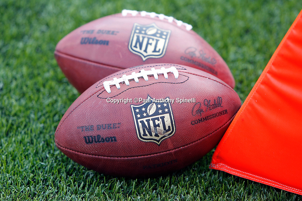 NFL footballs lie on the grass next to a yard marker at the Buffalo Bills NFL week 3 football game against the New England Patriots on Sunday, September 25, 2011 in Orchard Park, New York. The Bills won the game 34-31. ©Paul Anthony Spinelli