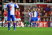 Bristol City goalkeeper Frank Fielding makes a save during the Sky Bet Championship match between Bristol City and Blackburn Rovers at Ashton Gate, Bristol, England on 5 December 2015. Photo by Jemma Phillips.